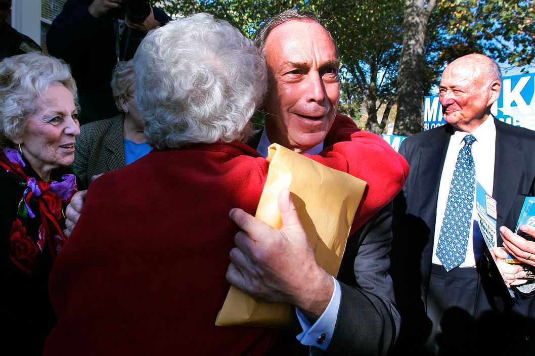New York Mayor Michael Bloomberg gets a hug as he campaigns with former New York City Mayor Ed Koch (R) in the Bronx November 7, 2005 in New York City. Bloomberg faces Democratic challenger Fernando Ferrer in tomorrow's election.