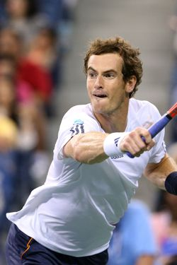 NEW YORK, NY - SEPTEMBER 03:  Andy Murray of Great Britain plays a backhand in his men's singles fourth round match against Milos Raonic of Canada during Day Eight of the 2012 US Open at USTA Billie Jean King National Tennis Center on September 3, 2012 in the Flushing neighborhood of the Queens borough of New York City.  (Photo by Cameron Spencer/Getty Images)