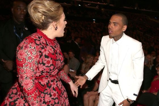 One Last Grammys Photo: Adele Yells at Chris Brown
