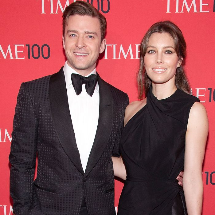 New parents. One parent is named Jessica Biel, the other parent is named Justin Timberlake.