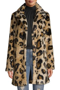 Scoop Vegan Fur Leopard Printed Coat Women's