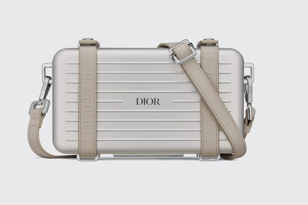 Dior and Rimowa Personal Clutch in Gray Aluminum and Grained Calfskin