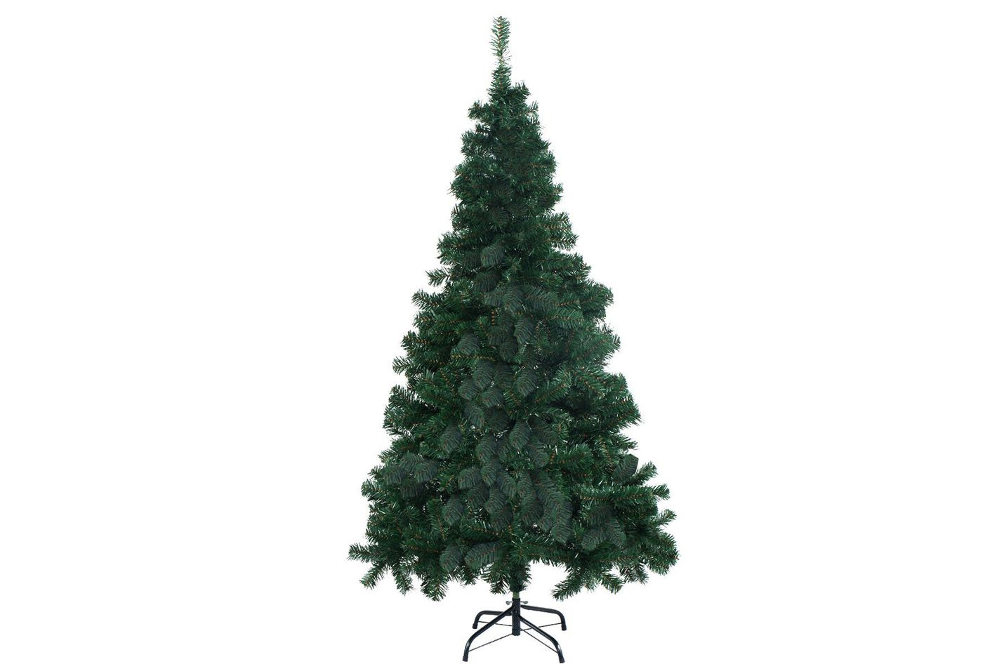 Goplus 8' Artificial Christmas Tree Spruce Hinged With Metal Stand for Indoor and Outdoor