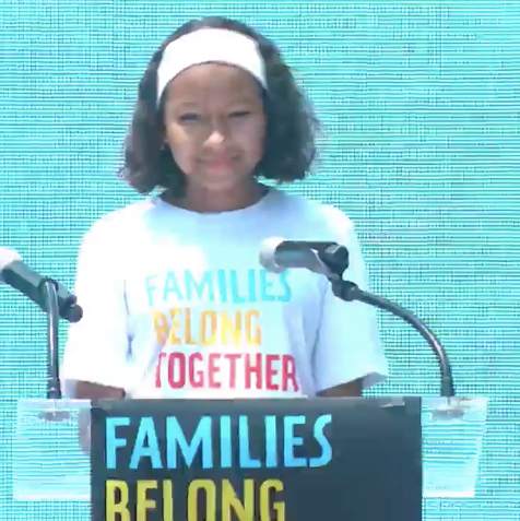 Leah at the Families Belong Together protest.