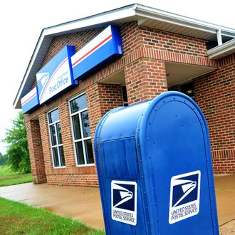 The US Post Office at Bristow, Virginia is seen on September 5, 2011. The New York Times reported that the US Postal Service is on the brink of default unless Congress takes emergency action to shore up finances. AFP PHOTO/Karen BLEIER (Photo credit should read KAREN BLEIER/AFP/Getty Images)