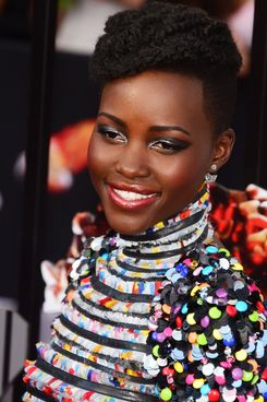 Actress Actress Lupita Nyong'o arrives on the red carpet for the 2014 MTV Movie Awards at the Nokia Theater in Los Angeles, California, on April 13, 2014.