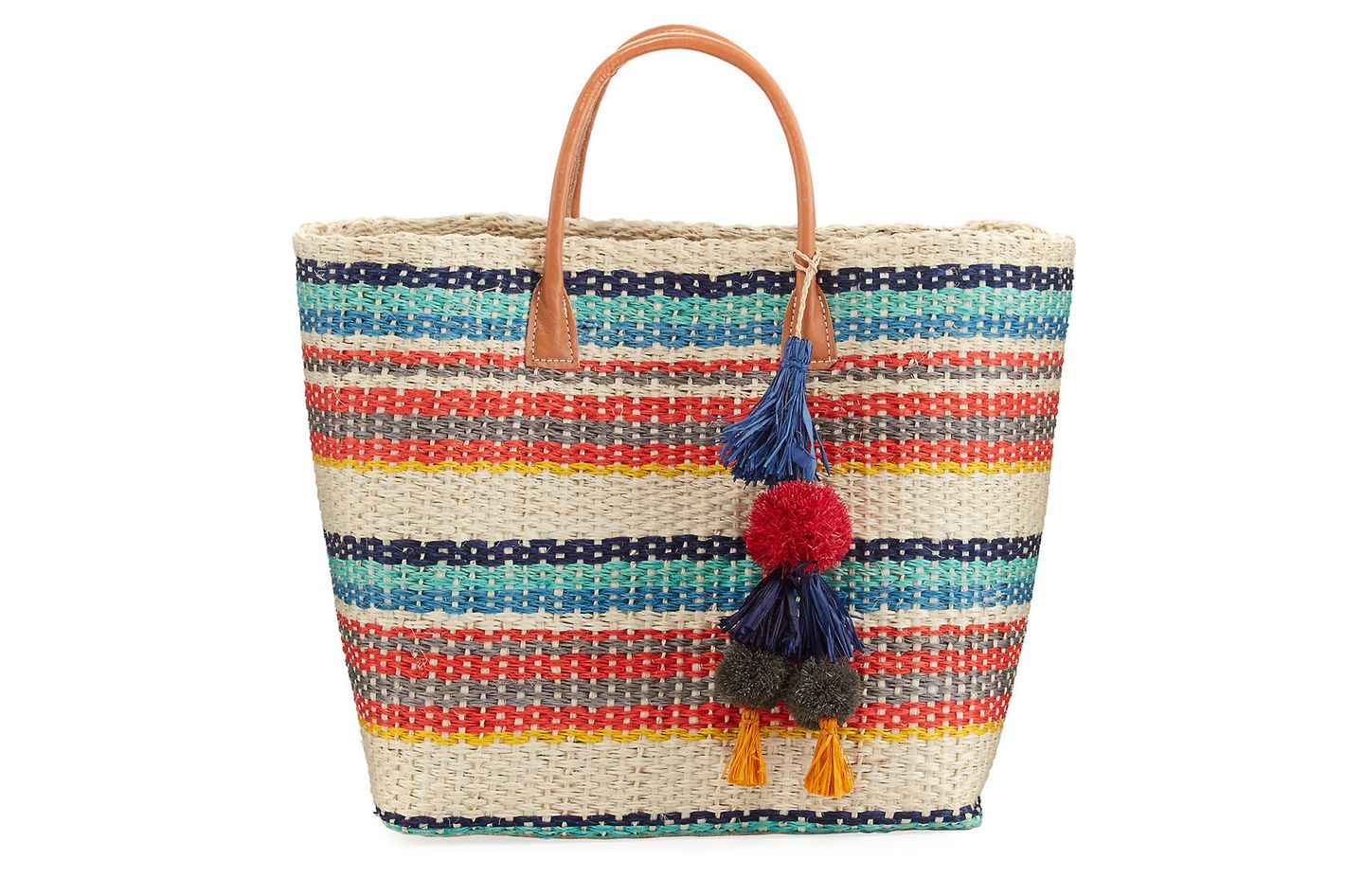 Buji Baja Colorblock Straw Tote Bag