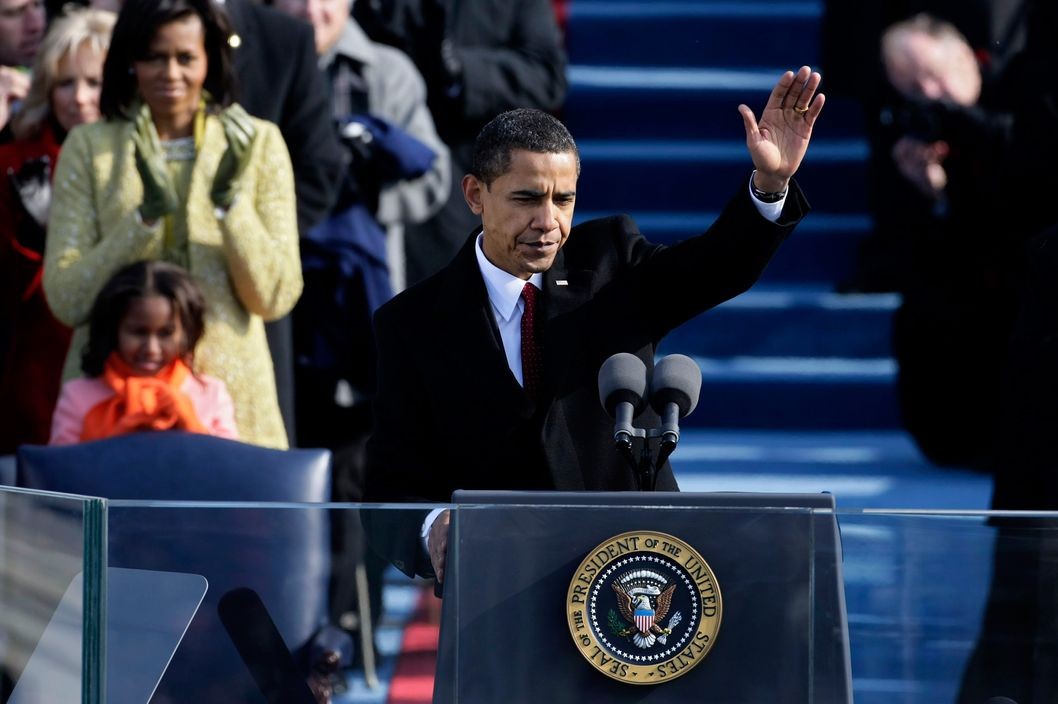 U.S President Barack Obama waves after his inaugural address during his inauguration as the 44th President of the United States of America on the West Front of the Capitol January 20, 2009 in Washington, DC.