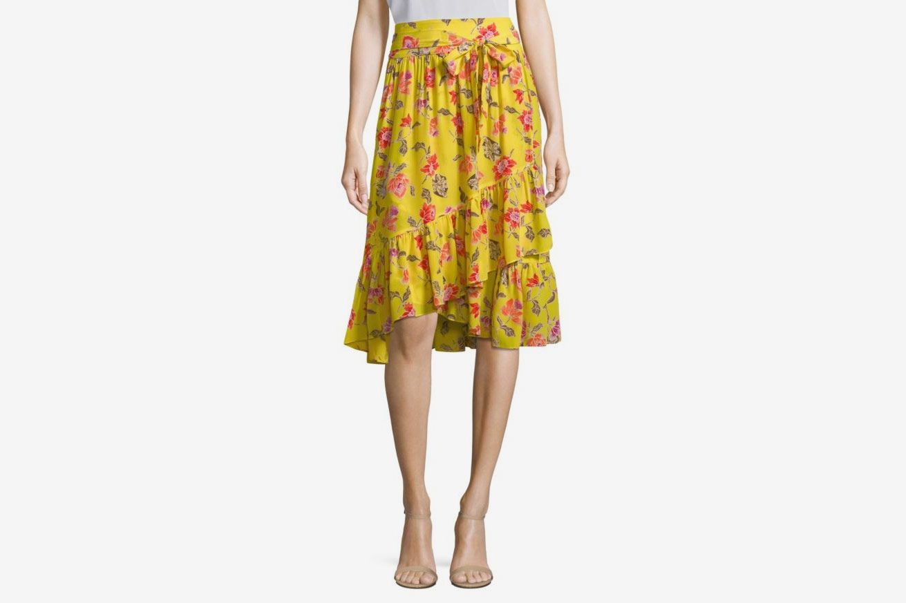 Joie Denisha Floral Silk Wrap Skirt