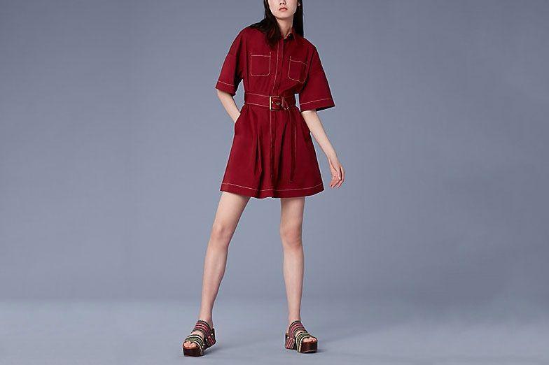 Short-Sleeve Button-Up Belted Cotton Shirtdress