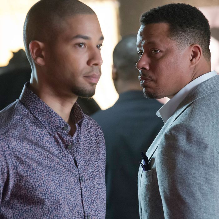 "EMPIRE: Lucious (Terrence Howard, R) and Jamal (Jussie Smollett, L) form a music-centered relationship in the special two-hour ""Die But Once/Who I Am"" Season Finale episode of EMPIRE airing Wednesday, March 18 (8:00-10:00 PM ET/PT) on FOX. CR: Chuck Hodes/FOX"