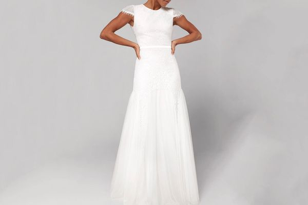 Fame and Partners Denevue Lace & Tulle A-Line Gown