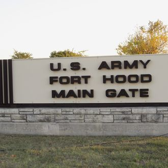 NBC NEWS -- Pictured: The front gate of the U.S. Army post at Fort Hood, Texas on November 8, 2006 -- Photo by: Alan Henkel/NBC Newswire .