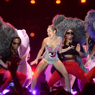 Miley Cyrus performs during the 2013 MTV Video Music Awards at the Barclays Center on August 25, 2013 in the Brooklyn borough of New York City.
