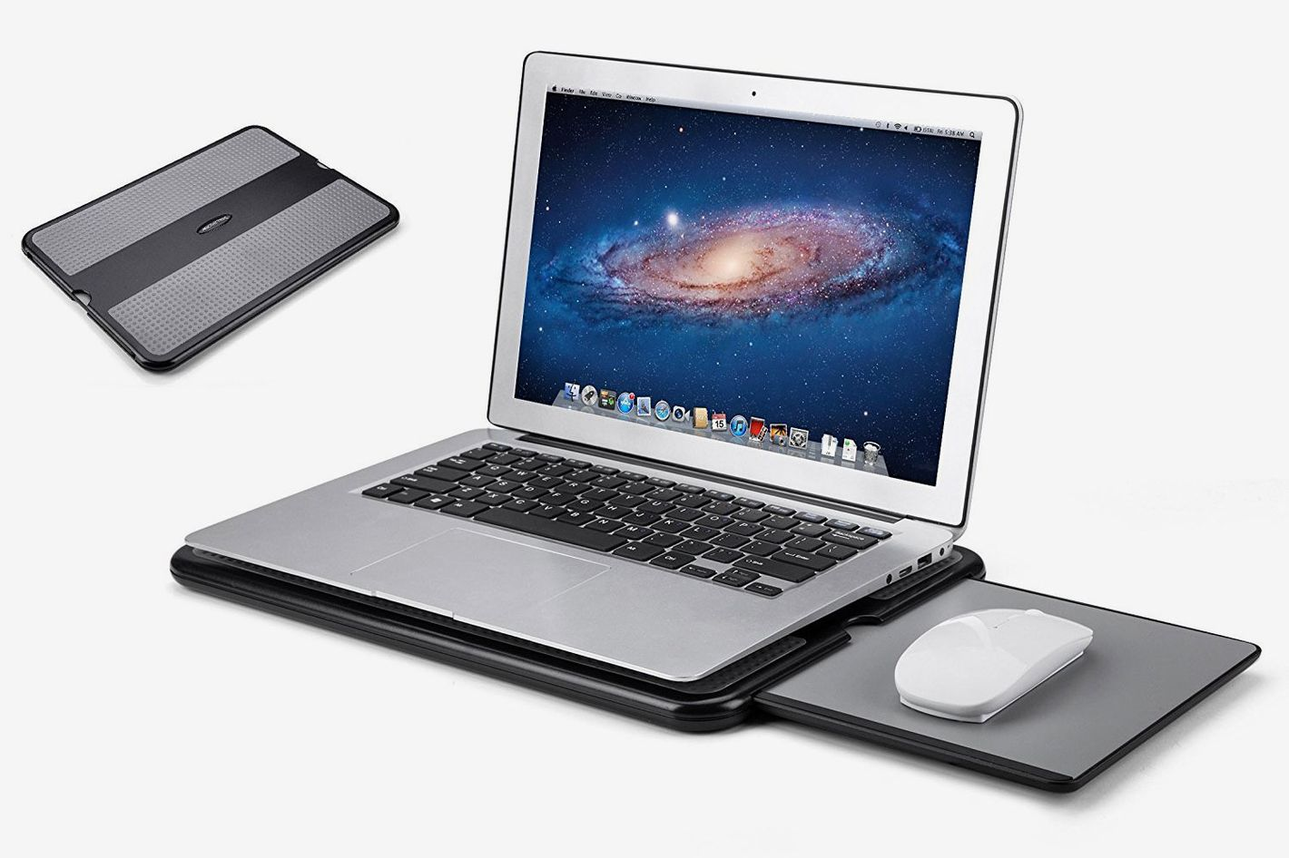 Abovetek Portable Laptop Lap Desk With Retractable Left Right Mouse Pad Tray