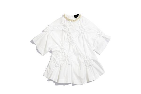 Simone Rocha Cotton Poplin Top With Pearl Embellishment