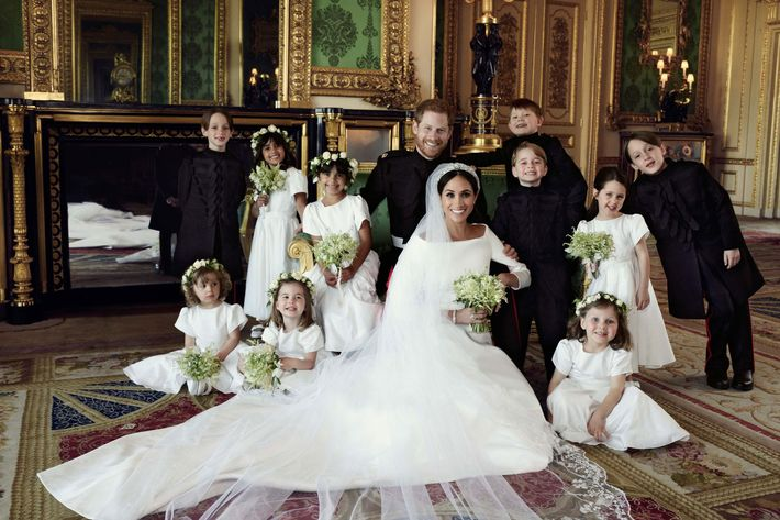 Prince Harry, Meghan Markle, and their pageboys and bridesmaids.