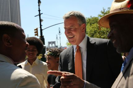 "New York Democratic mayoral candidate Bill de Blasio meets supporters during a campaign event on July 30, 2013 in New York City. Following the meltdown of Anthony Weiner's campaign due to a ""sexting"" scandal, deBlasio has risen in recent polls with some putting him at number two behind frontrunner Christine Quinn."