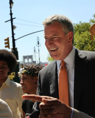 New York Democratic mayoral candidate Bill de Blasio meets supporters during a campaign event on July 30, 2013 in New York City. Following the meltdown of Anthony Weiner's campaign due to a