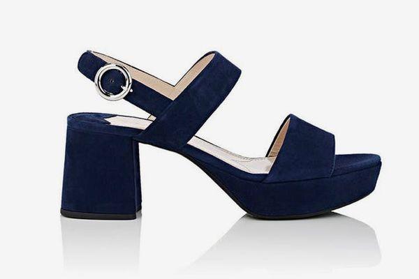 Suede Double-Band Platform Sandals