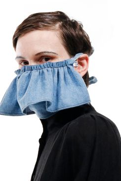 Denim Ruffle Mask
