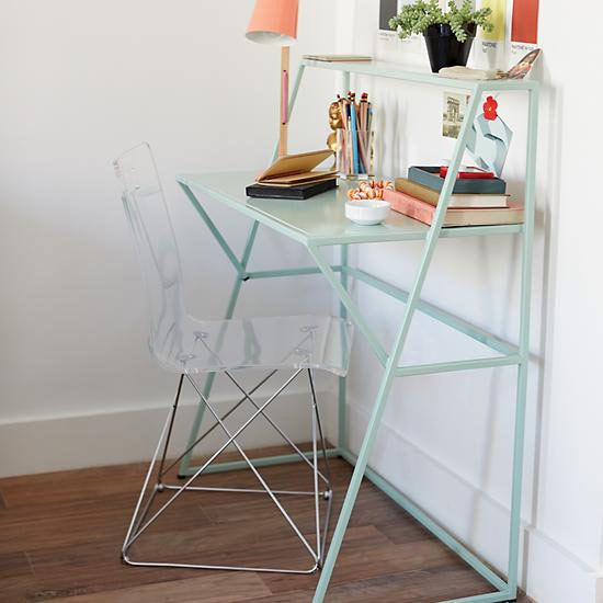 Charming Land Of Nod Mint Metalwork Desk