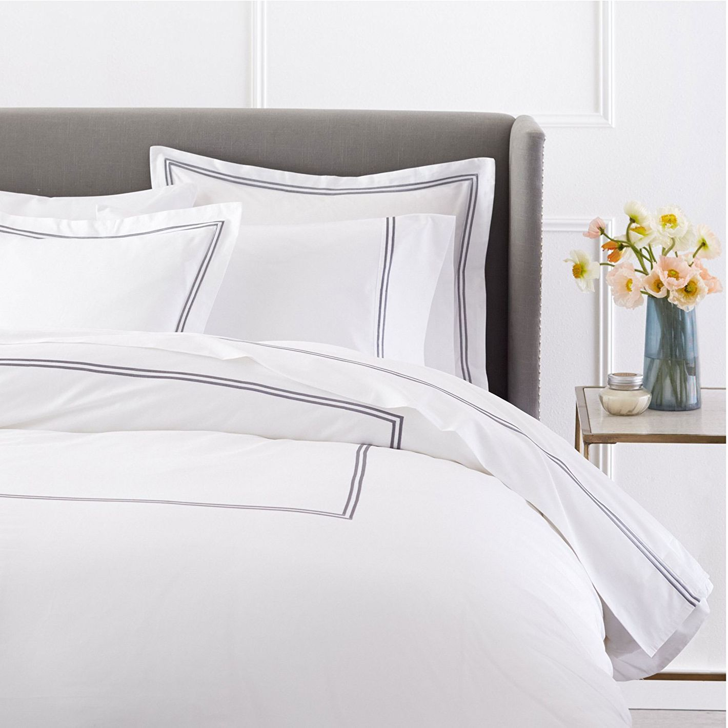 Pinzon Egyptian Cotton Sateen Hotel Stitch Duvet Cover