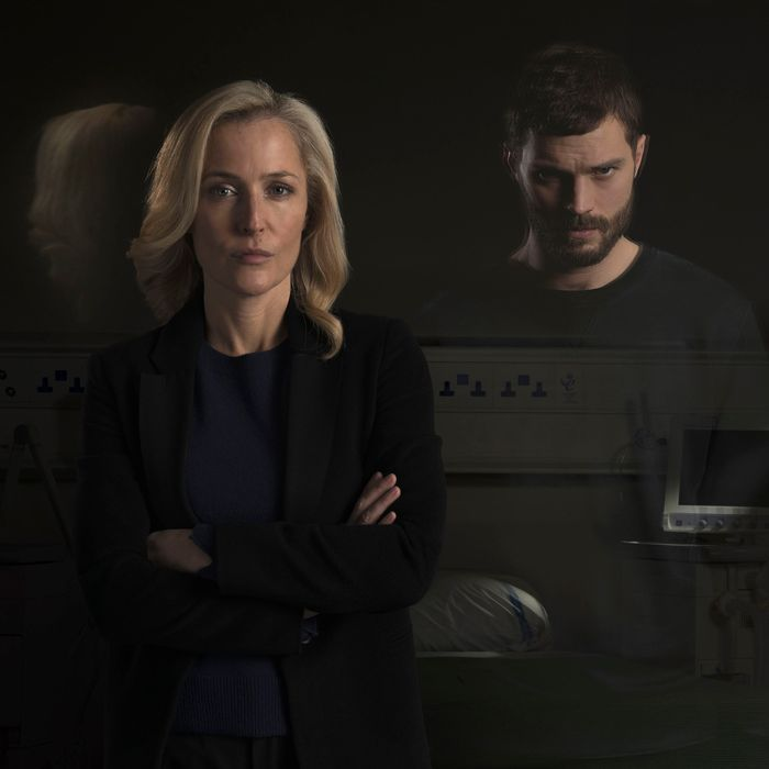Gillian Anderson as DSI Stella Gibson, Jamie Dornan as Paul Spector.