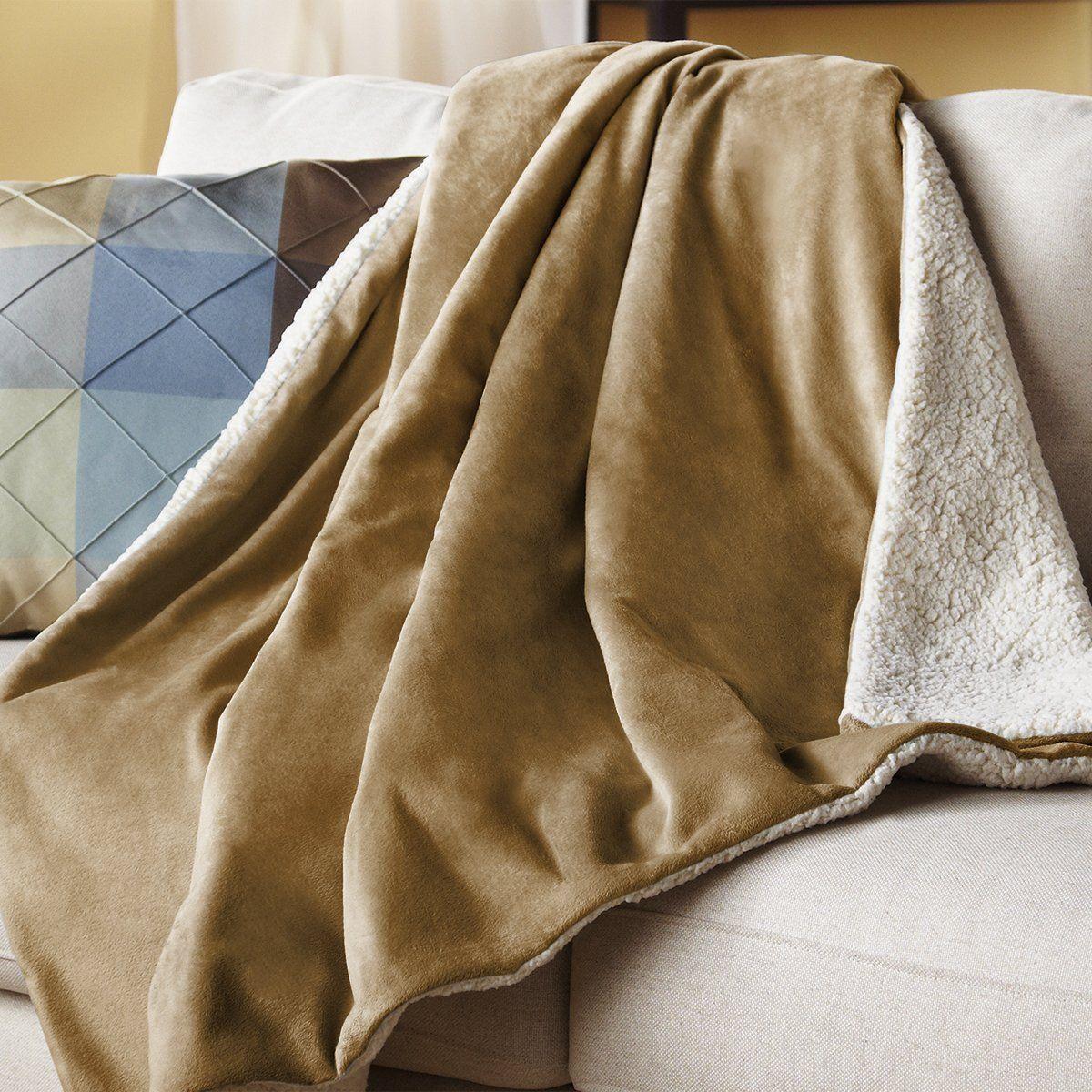 Sunbeam Reversible Sherpa Mink Heated Throw Blanket With EliteStyle II  Controller ee17215565