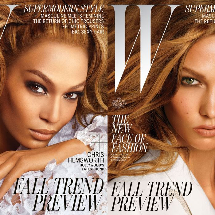 Joan Smalls and Karlie Kloss, photographed by Steven Meisel.