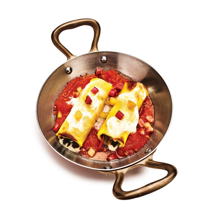 Del Posto's Five-Cheeses-and-Swiss-Chard Manicotti.