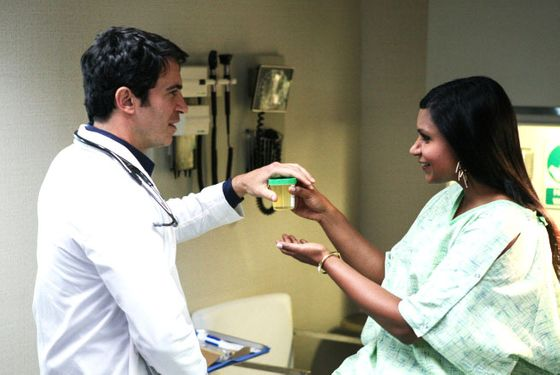 "THE MINDY PROJECT: Danny (Chris Messina, L) gives Mindy (Mindy Kaling, R) an exam on an all-new ""Danny Castellano Is My Gynecologist"""