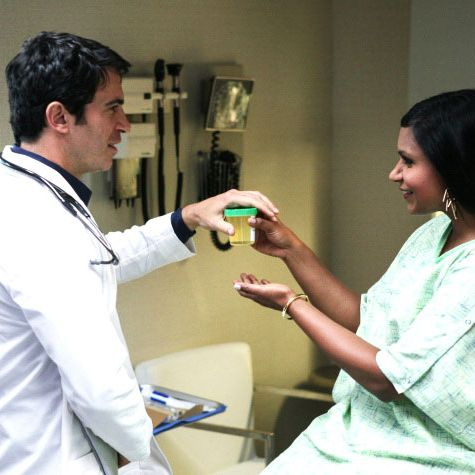 THE MINDY PROJECT: Danny (Chris Messina, L) gives Mindy (Mindy Kaling, R) an exam on an all-new