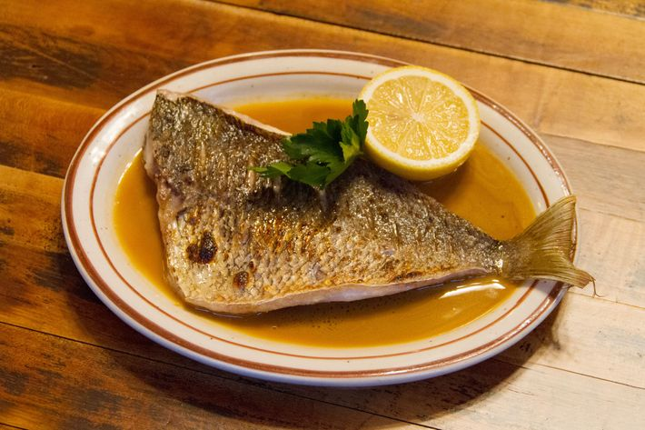 Broiled porgy with lobster sauce (one of several sauces on offer).