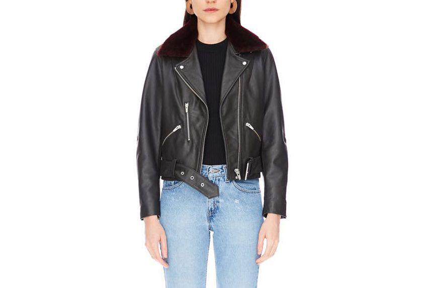 Veda National Leather Jacket, Charcoal