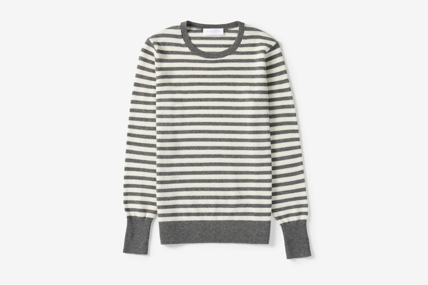 Cashmere Crew in Charcoal/Bone Stripe