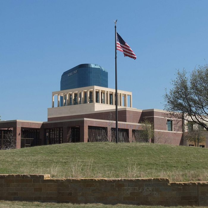 A picture taken March 26, 2013 shows the George W. Bush Presidential Library and Museum in Dallas, Texas. The George W. Bush Presidential Center will be dedicated April 25th in Dallas on the campus of Southern Methodist University.