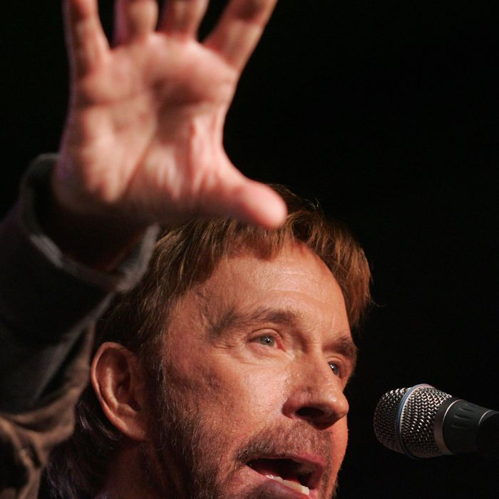 US Actor Chuck Norris speaks during a