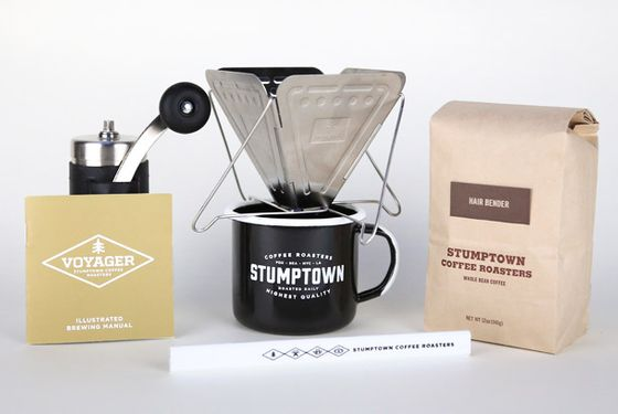 "For nomadic coffee snobs who need consistent access to first-rate joe, the roasting masters at <a href=""http://www.grubstreet.com/2013/09/best-coffee-shops-in-america.html#photo=13x00041"">Stumptown</a> have assembled a kit that ensures travelers of all sorts will have access to excellent coffee. <a href=""http://buy.stumptowncoffee.com/voyager.html"">Stumptown Voyager Kit</a>, $125"