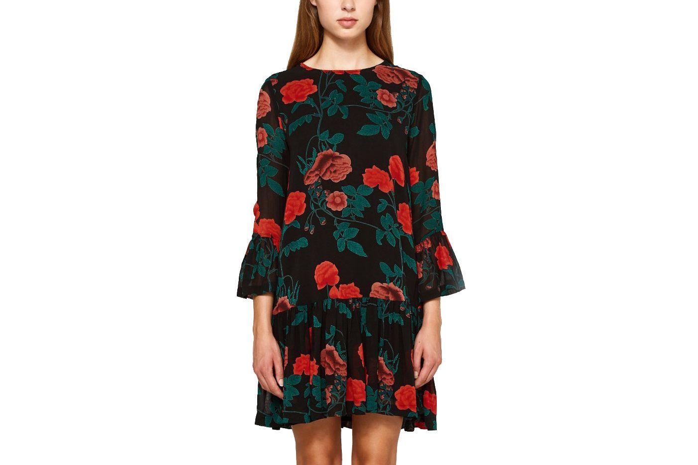 Ganni Newman Georgette Dress in Black
