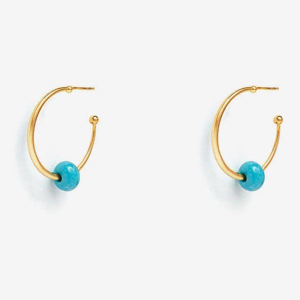 The Met Roman Bead Turquoise Hoop Earrings