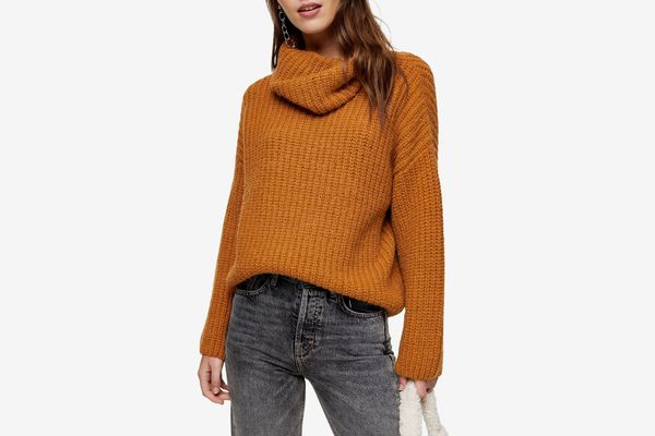 Topshop Turtleneck Rib Knit Sweater