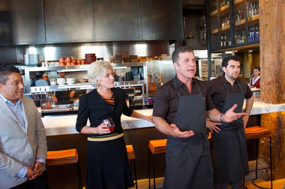From left: General Manager Michael Iglesias, who comes from the Andres empire; Eileen Gordon Chiarello; Chef Chiarello addressing the group at last night's preview event; and chef de cuisine Ryan McIlwraith.
