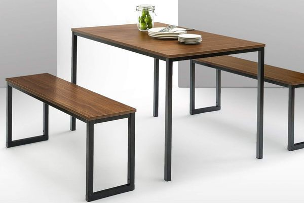 Zinus Modern Studio Collection Soho Dining Table with Two Benches