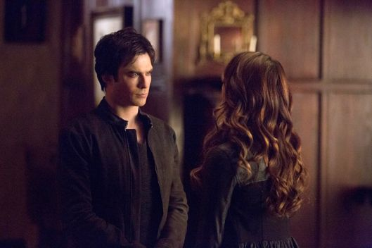 "The Vampire Diaries -- ""Gone Girl"" -- Image Number: VD515a_0065.jpg -- Pictured (L-R): Ian Somerhalder as Damon and Nina Dobrev as Katherine (back to camera) -- Photo: Blake Tyers/The CW -- © 2014 The CW Network, LLC. All rights reserved"