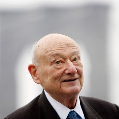 In this March 23, 2010 file photo, former New York Mayor Ed Koch speaks during a publicity event in New York. Koch is keeping tabs on the Democratic National Convention while undergoing a battery of hospital tests. A spokesman for the ex-Democratic mayor says Koch might not get out of the hospital Wednesday, as he'd originally hoped. Koch felt weak over the weekend while staying with friends in North Carolina. He was admitted to New York-Presbyterian Hospital on Tuesday, Sept. 4, 2012,  with anemia.