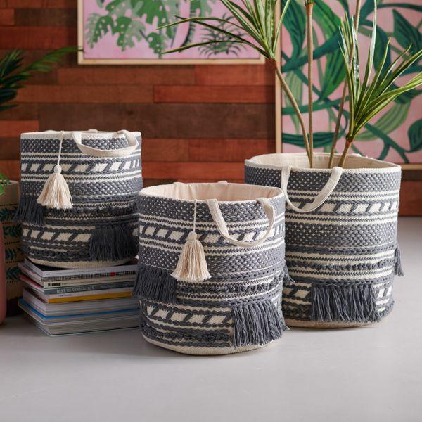 Drew Barrymore Flower Home Hand Woven Macrame 3 Piece Basket Set