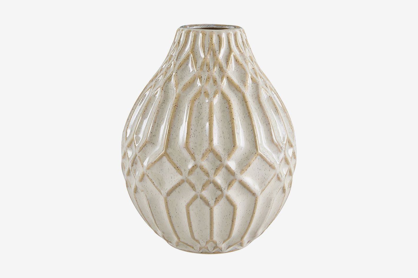 Stone & Beam Modern Ceramic Vase With Geometric Pattern, 7.7-inch, White
