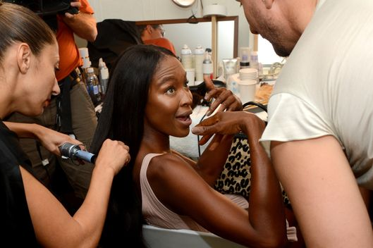 NEW YORK, NY - SEPTEMBER 09:  Naomi Campbell prepares backstage at the Zac Posen Spring 2013 fashion show during Mercedes-Benz Fashion Week at Avery Fisher Hall at Lincoln Center on September 9, 2012 in New York City.  (Photo by Jason Kempin/Getty Images for Mercedes-Benz Fashion Week)