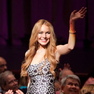 """GLEE: Lindsay Lohan (guest-starring as herself) judges the competition in the second hour of a special two-hour """"Props/Nationals"""" episode of GLEE airing Tuesday, May 15 (8:00-10:00 PM ET/PT) on FOX."""